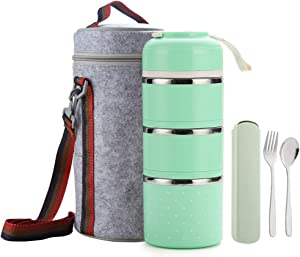 Worthbuy Bento Lunch Box Stainless Steel Leakproof Food Storage Containers with Insulated Lunch Bag for Adult and Office (Green)