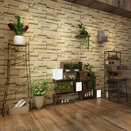 Buggy TV background wall non-woven fire damp brick-like pattern wallpaper , dark grey , 0.53m10m by YPF Wall sticker