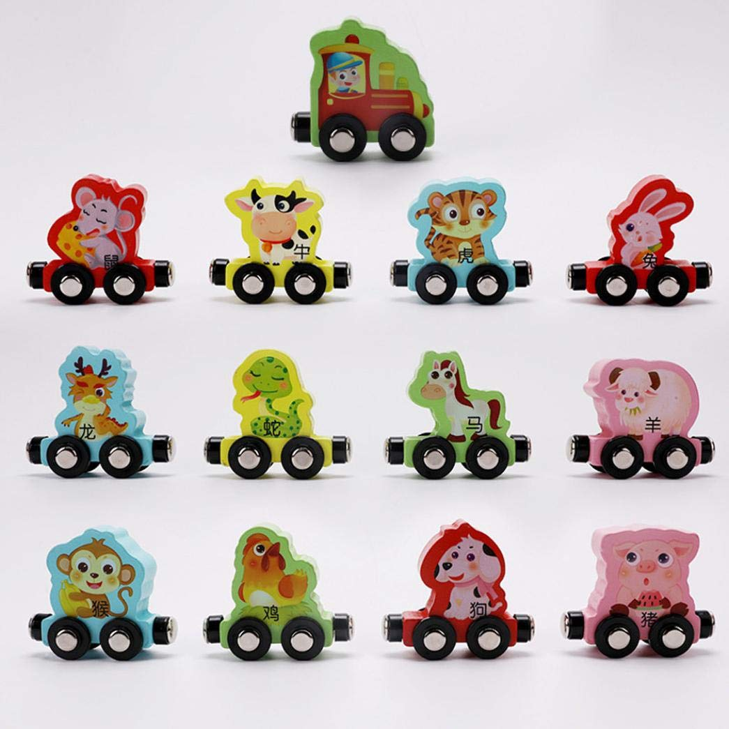 Gbell Kids Toddler Colorful Mini Wooden Train Set - 13Pcs Animal Learning Educational Toy Gifts Toddlers Girls Boys Kids Over 3 Year Old (Multicolor) by Gbell (Image #3)