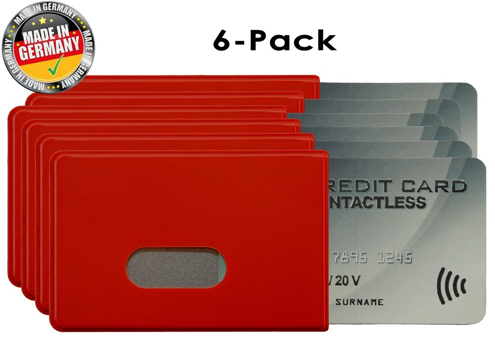 OPTEXX® 6x RFID/NFC Blocking Sleeve Fred Red TÜV tested and certified Credit- / Debit Card Protector Id Theft Protection Case