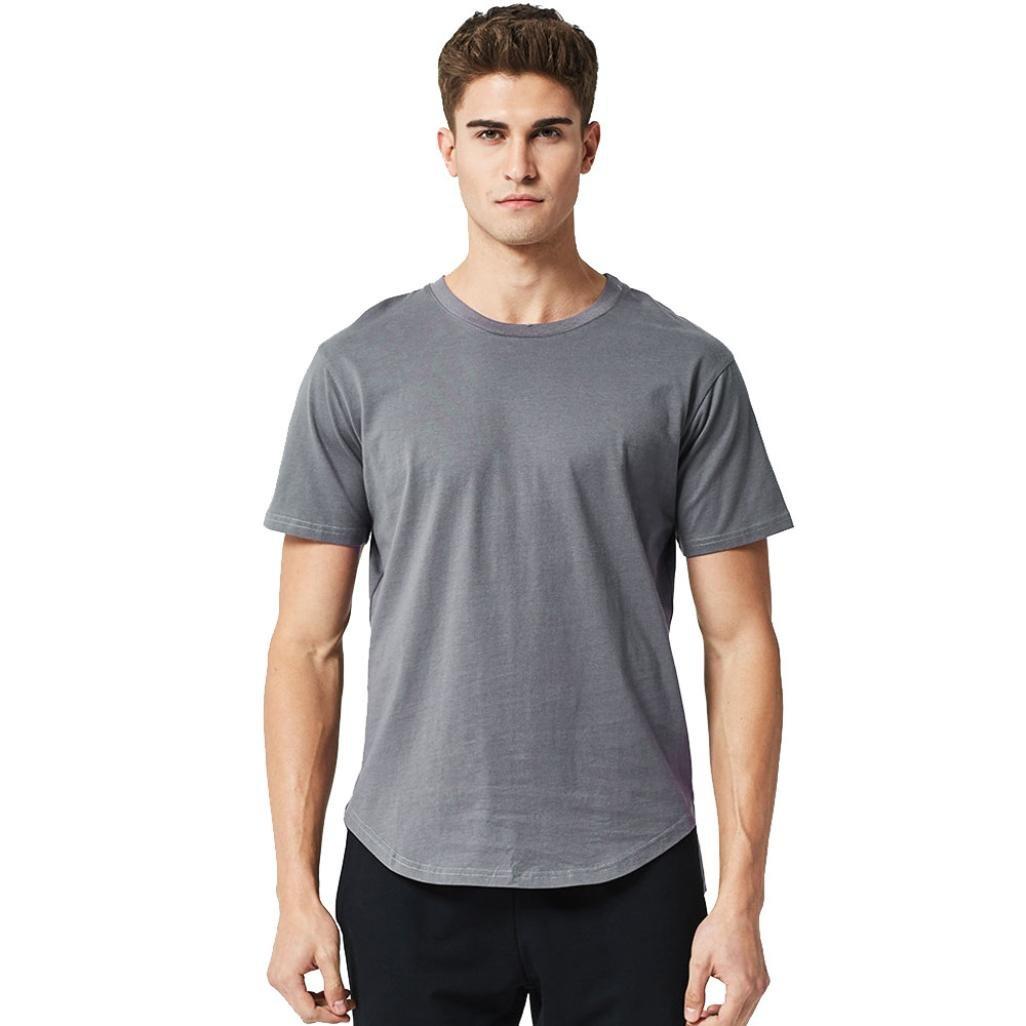 Longra Herren T-Shirt Classics T-Shirt Basic Shirt mit Rundhalsausschnit Einfarbige T-Shirts Slim Fit T-Shirt in Weiszlig; Grau Schwarz Crewneck Tee  S|Gray