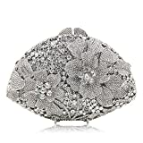 Milisente Women Evening Bag Flower Crystal Rhinstone Banquet Clutche Purse (Silver)