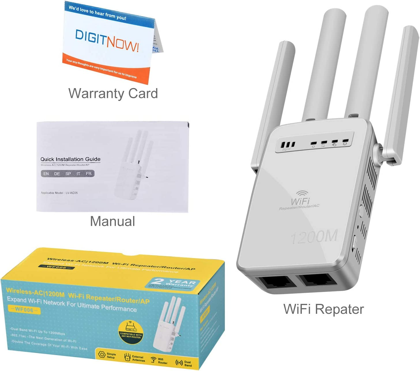 2 LAN//Ethernet Wireless Repeater Coverage to 3000sq.ft /& 32 Devices WiFi Range Extender 1200 Mbps,2.4 /& 5GHz Dual Band Network,Signal Booster with WPS Button for WiFi Internet Connection