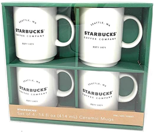Starbucks Coffee Company 14 OZ Ceramic Mugs Gift Set - 4 Pack: Amazon.es: Hogar