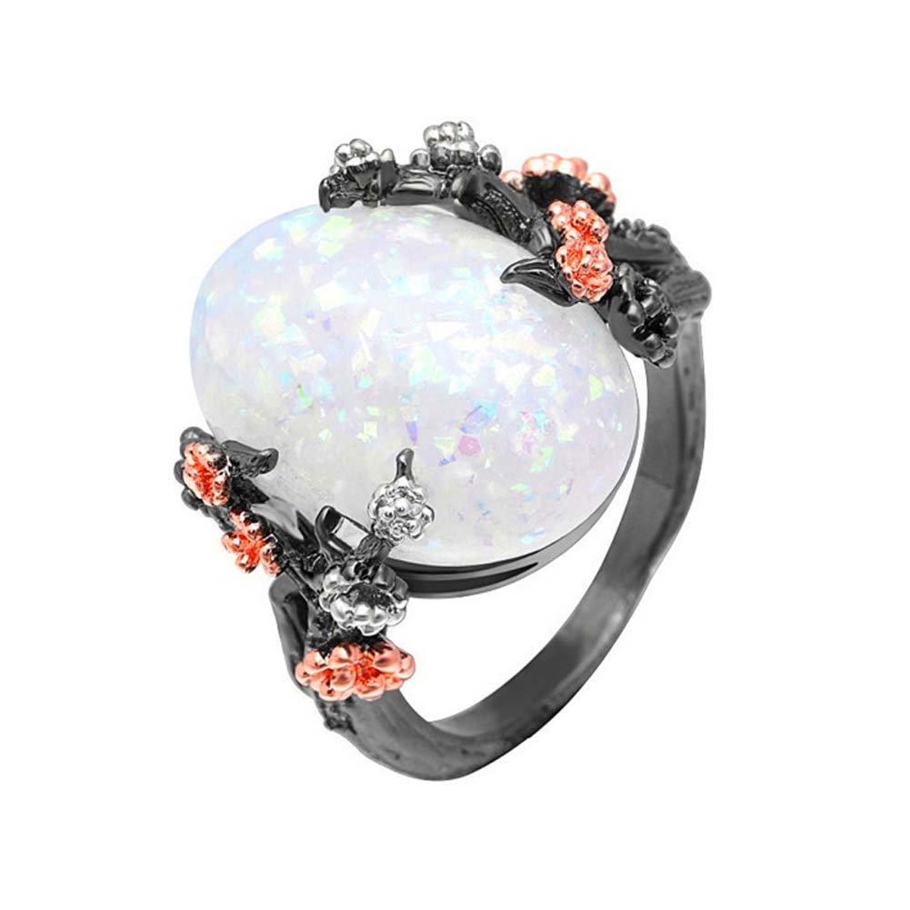 F/&F-Stars Elegant Oval Stone Flower /& Tree White Fire Opal Jewelry for Women Wedding Engagement Rings