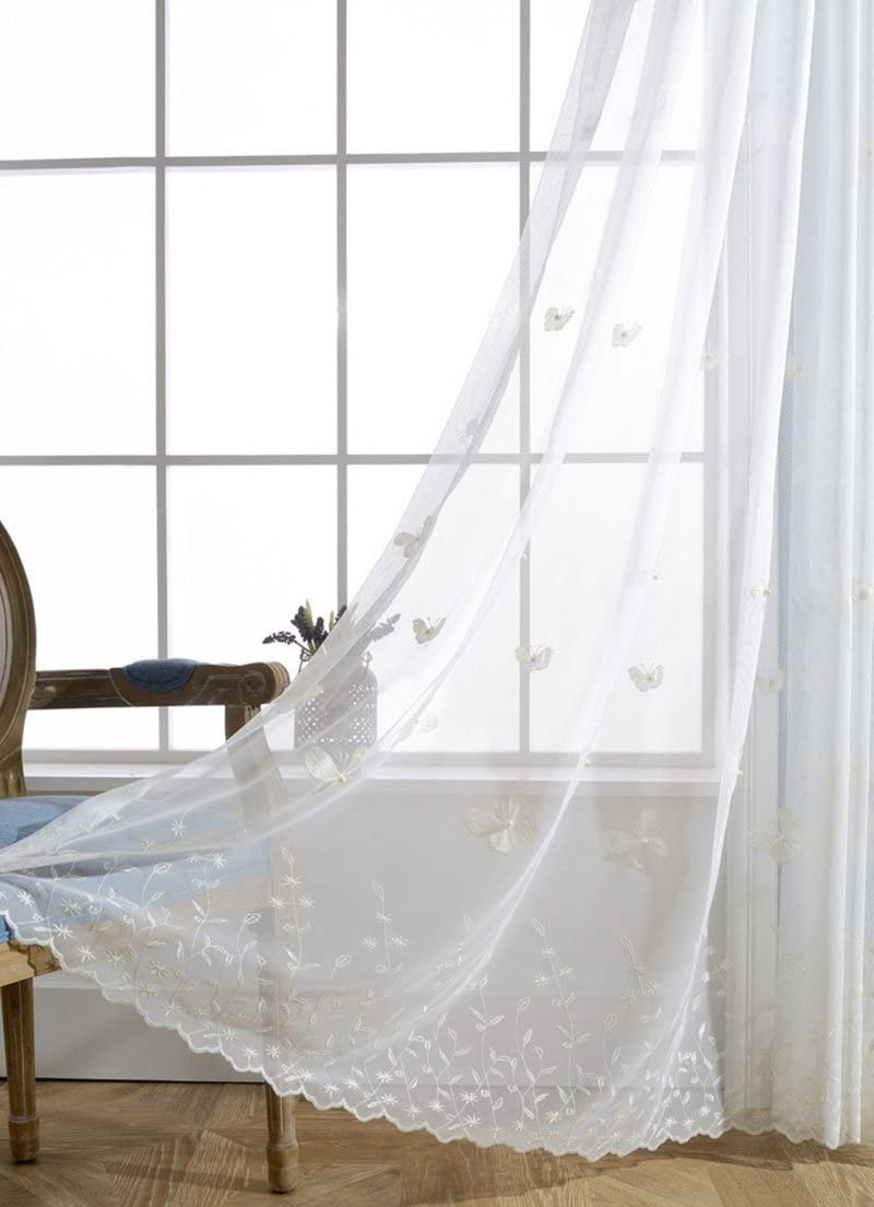 Embroidery Beaded Sheer Curtain Laced White Tulle Rod Pocket Top Lace European Drape Butterfly Embroidered Net Sheer Voile with Beads W75 inch by L96 inch Total 150 Wide 1 Pair 2 Leaves ZZCZZC