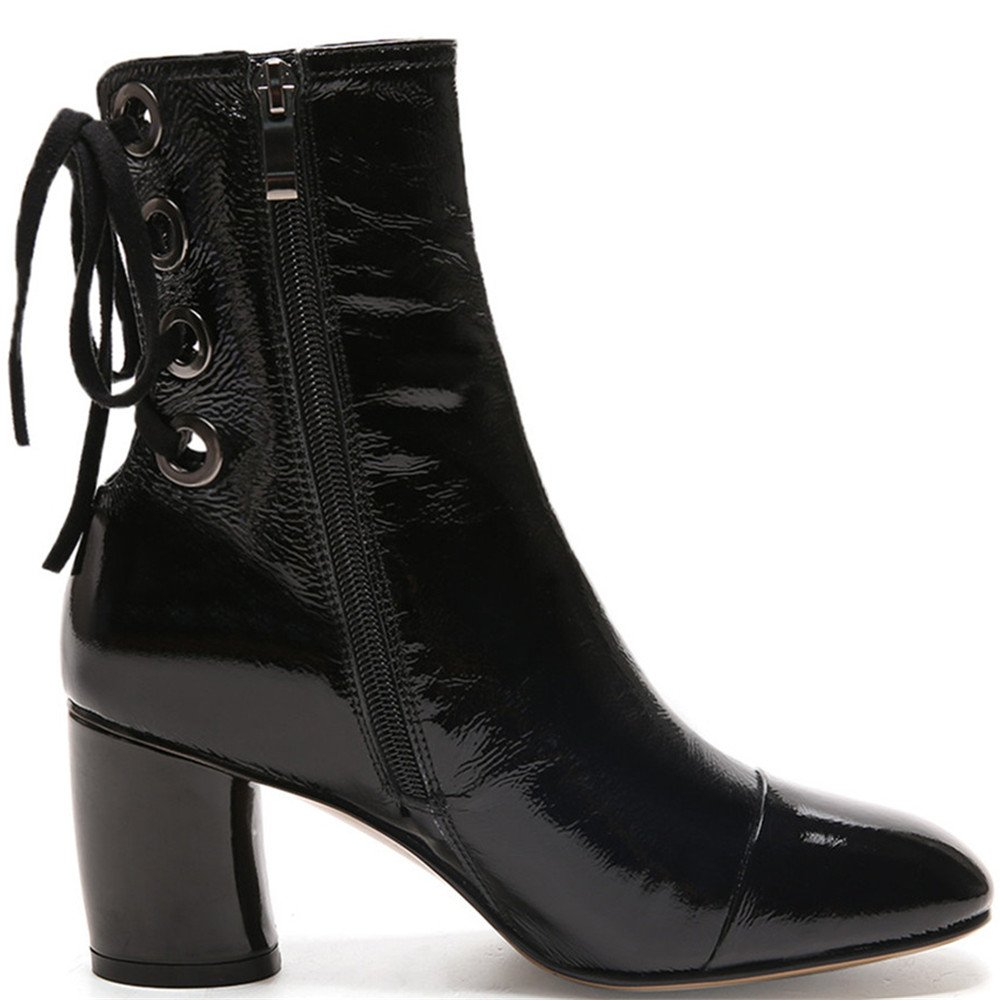 Nine Seven Patent Leather Women's Square Toe Chunky Heel Lace up Mid Calf Handmade Dress Boots B07477CBRK 6.5 B(M) US Black