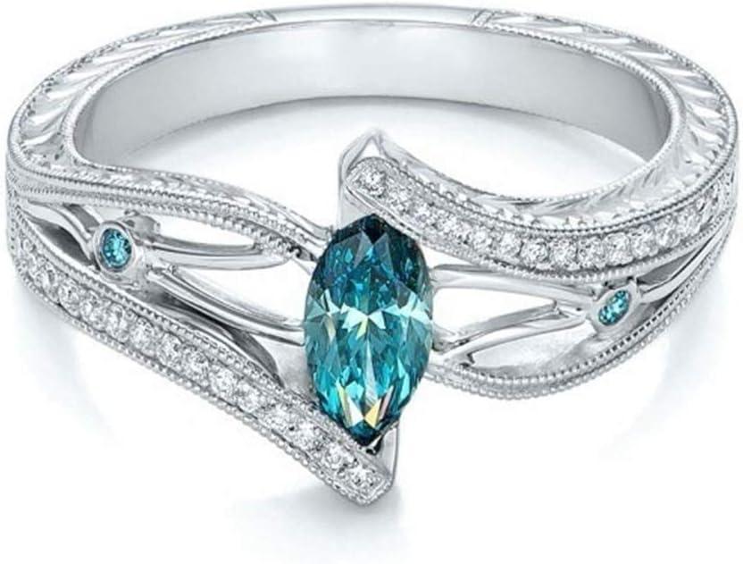 Yinew - Anillo de compromiso con piedras preciosas de diamante para mujer 10