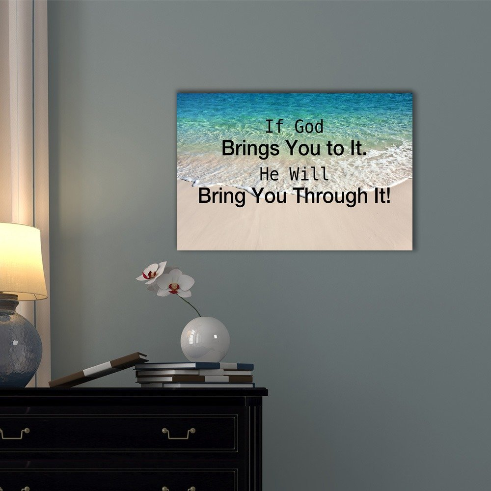 wall26 – Christian Quotes Series Canvas Wall Art – If God Brings You to It, He Will Bring You Through It – Gallery Wrap Modern Home Decor Ready to Hang – 32×48 inches