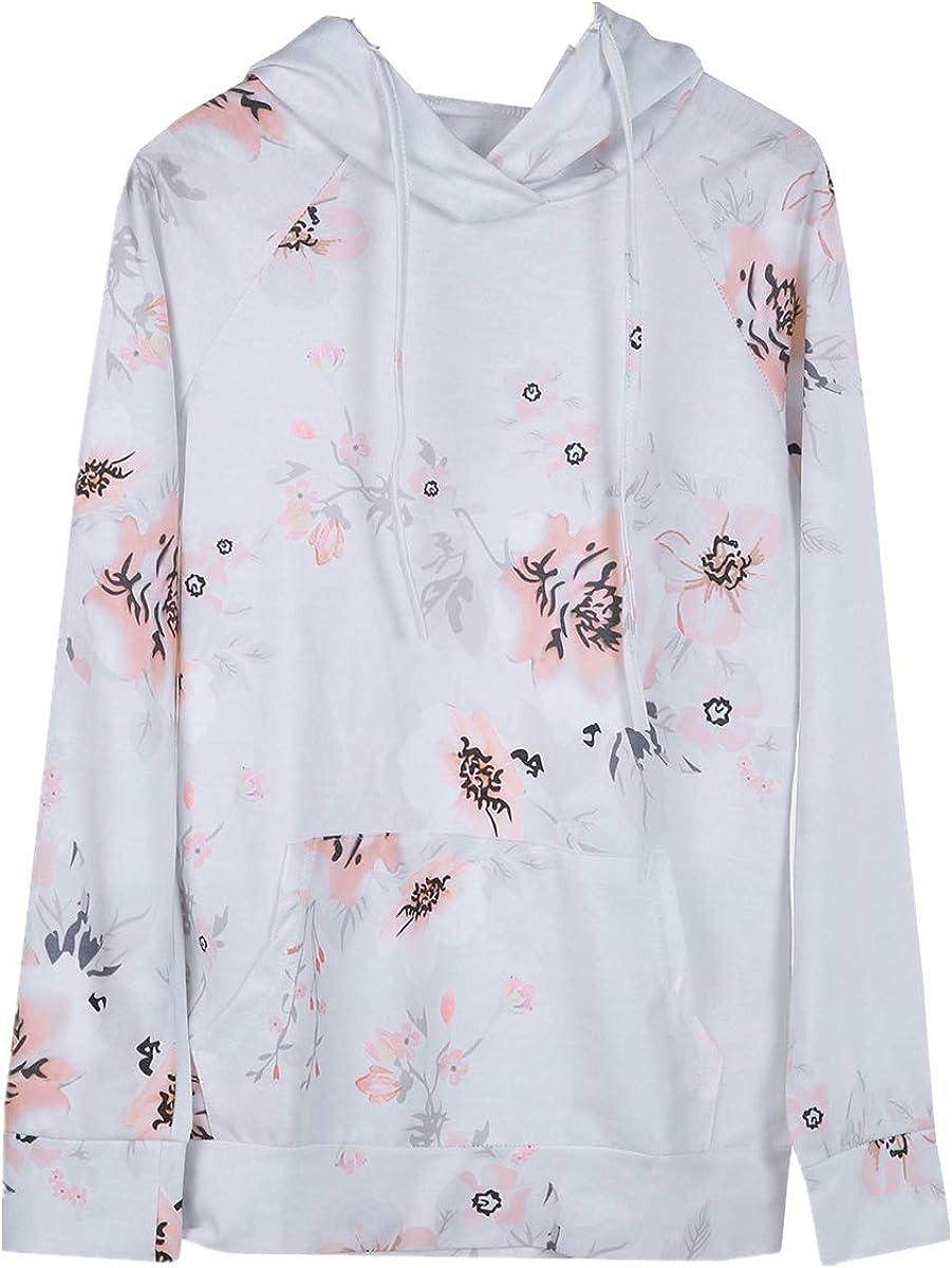 Junior Girls Hoodies Tops Fall Clothes Floral Sweatshirt Raglan Long Sleeve Loose Outwear White XXL