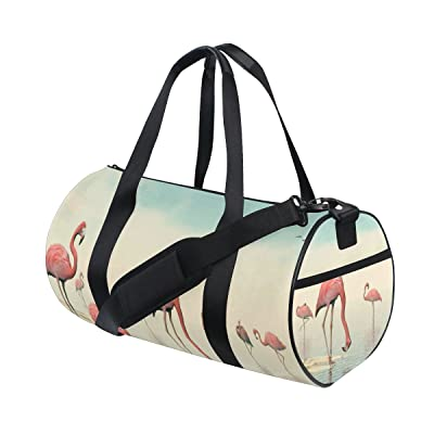 delicate POUKE Canvas Duffel Bag Adjustable Strap Gym Tote Sports Bag Carry On Flamingo