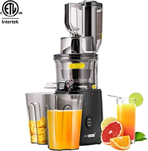 VIVOHOME Slow Masticating Juicer, BPA-Free, 55 RPM, Juice Extractor with Quiet Motor and Reverse Function, ETL Listed