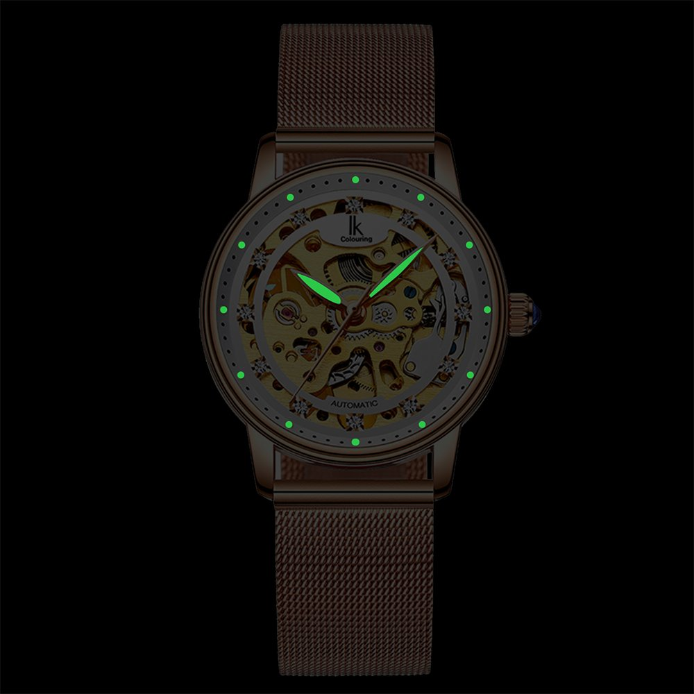 Womens Watch,Stone Automatic Dress Watch Luxury Skeleton Wrist Watch for Lady,Rose Gold Tone by Stone (Image #4)