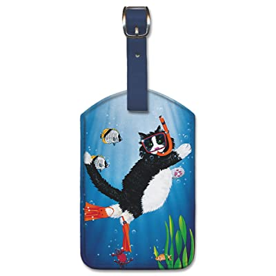 high-quality Leatherette Vintage Art Luggage Tag - Snorkel Kitty by Peter Powell