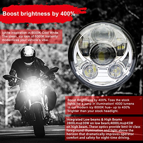 Wisamic 5-3/4'' 5.75'' LED Headlight - Compatible with Dyna Street Bob Super Wide Glide Low Rider Night Rod Train Softail Deuce Custom Sportster Iron 883-Silver by Wisamic (Image #1)