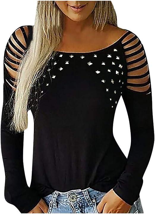ღLILICATღ Blusa de Manga Larga Hueco de Mujer, Camisa Holgada sin Tirantes Perforación en Caliente Camiseta: Amazon.es: Hogar