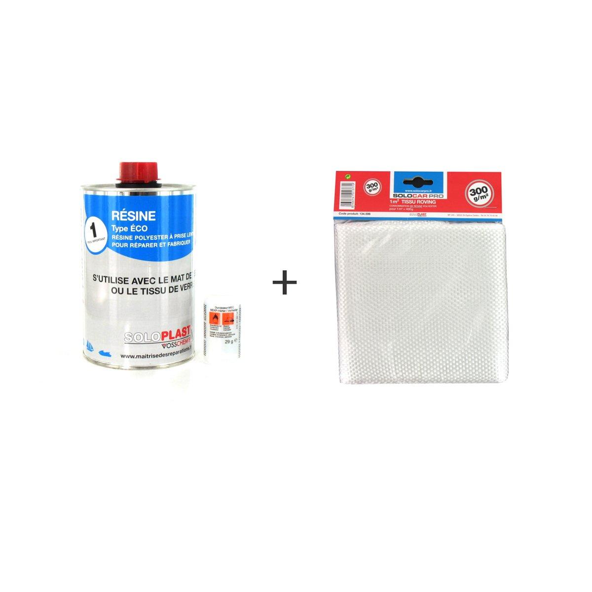 Pack ré sine polyester type Eco Soloplast 1 Kg - Tissu de verre Soloplast Roving 300g m2