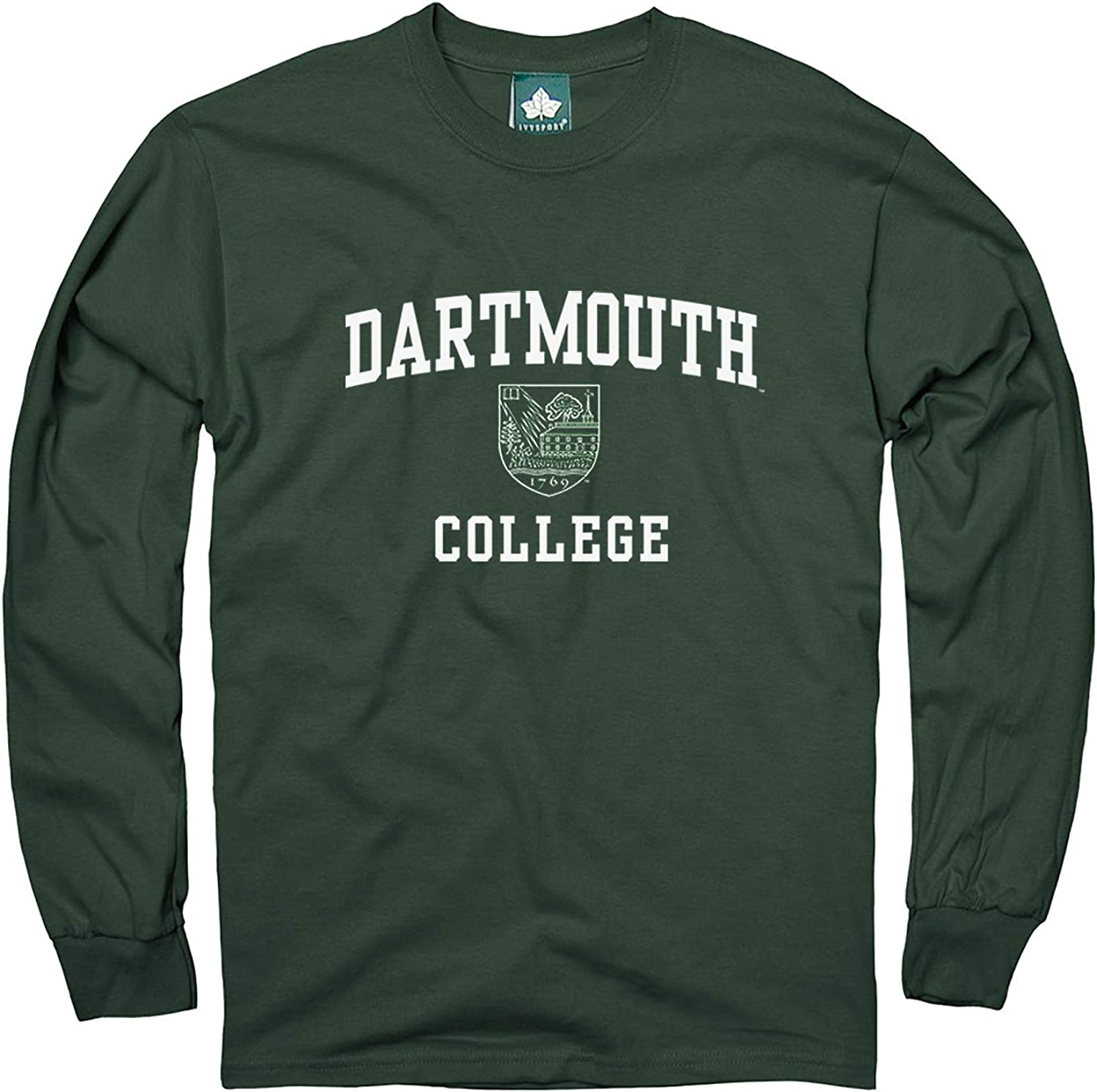 Ivysport Cotton Long Sleeve T-Shirt with Crest Logo School Color NCAA Colleges