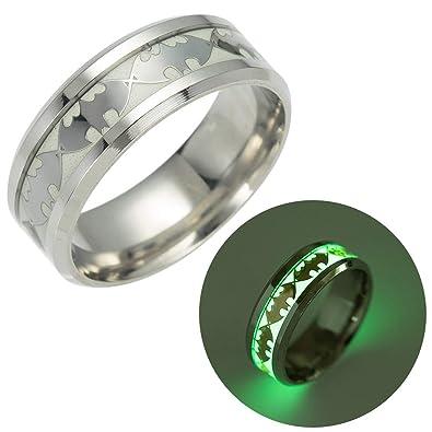 Geek Glitter Batman Glow In The Dark Ring Titanium Stainless Steel