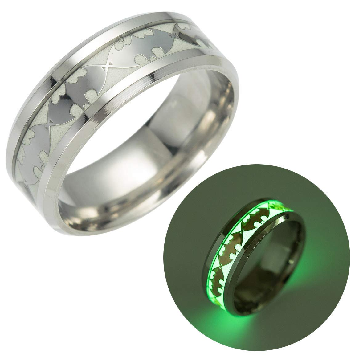 Geek & Glitter Batman Glow-in-the-Dark Ring Titanium Stainless Steel Silver Ring Band - DC Superhero Cosplay Jewelry (Silver, 12)