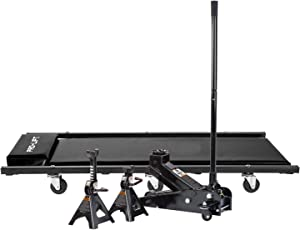 Pro-LifT G-4630JSCB 3 Ton Heavy Duty Floor Jack/Jack Stands and Creeper Combo - Great for Service Garage Home Uses - Black