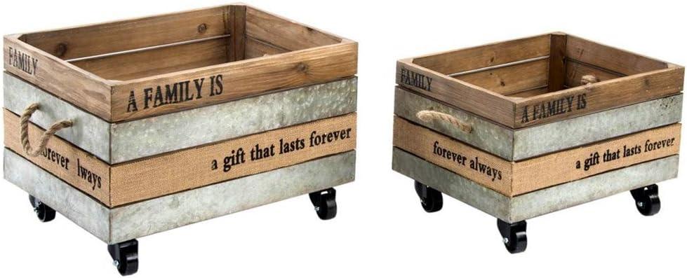 Indhouse - Caja de Madera Loft decoración Industrial Vintage con Ruedas - Set de 2: Amazon.es: Hogar