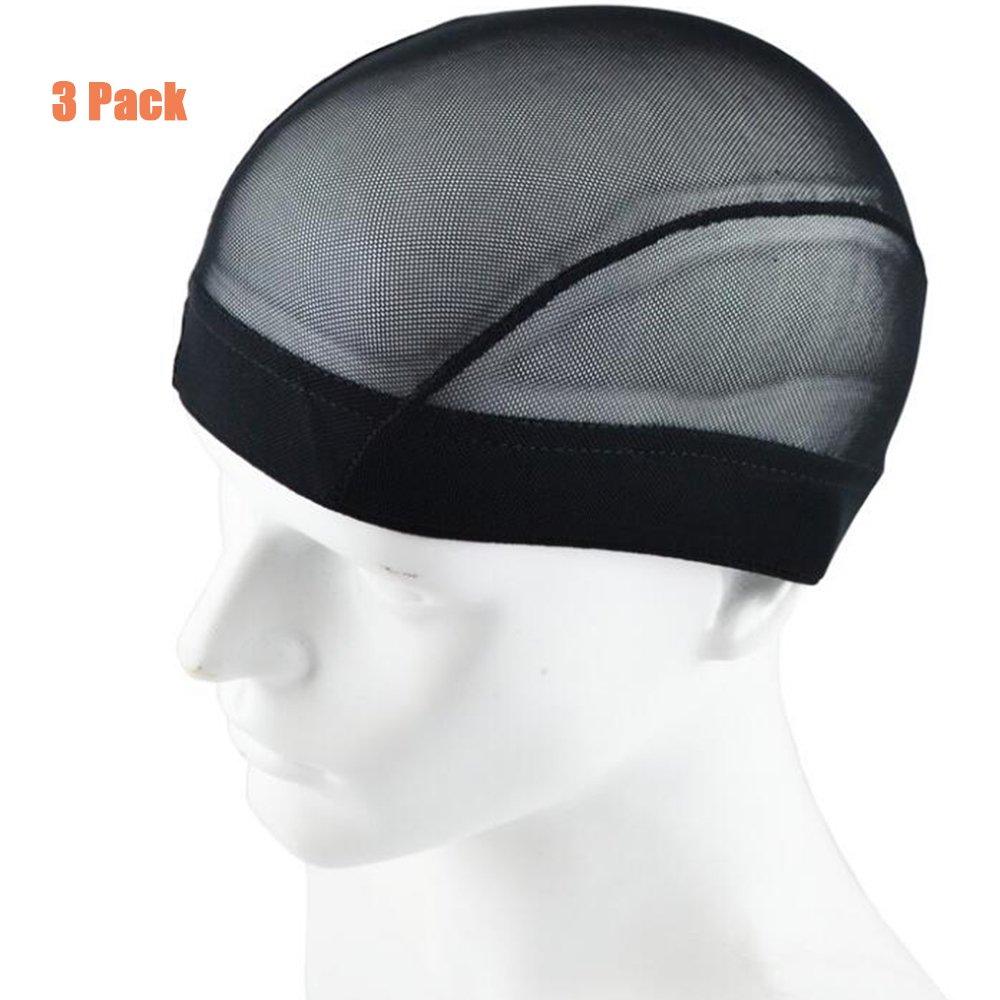 Garrelett 3 Pack Wig Caps - Weaving Stretchable Net Mesh Fishnet Elastic Dome Cap (Black) by Garrelett