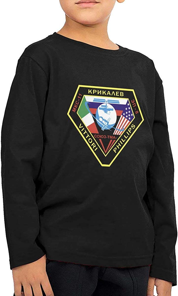 ISS MKC-11 Mission Patch Childrens Long Sleeve T-Shirt Boys Cotton Tee Tops