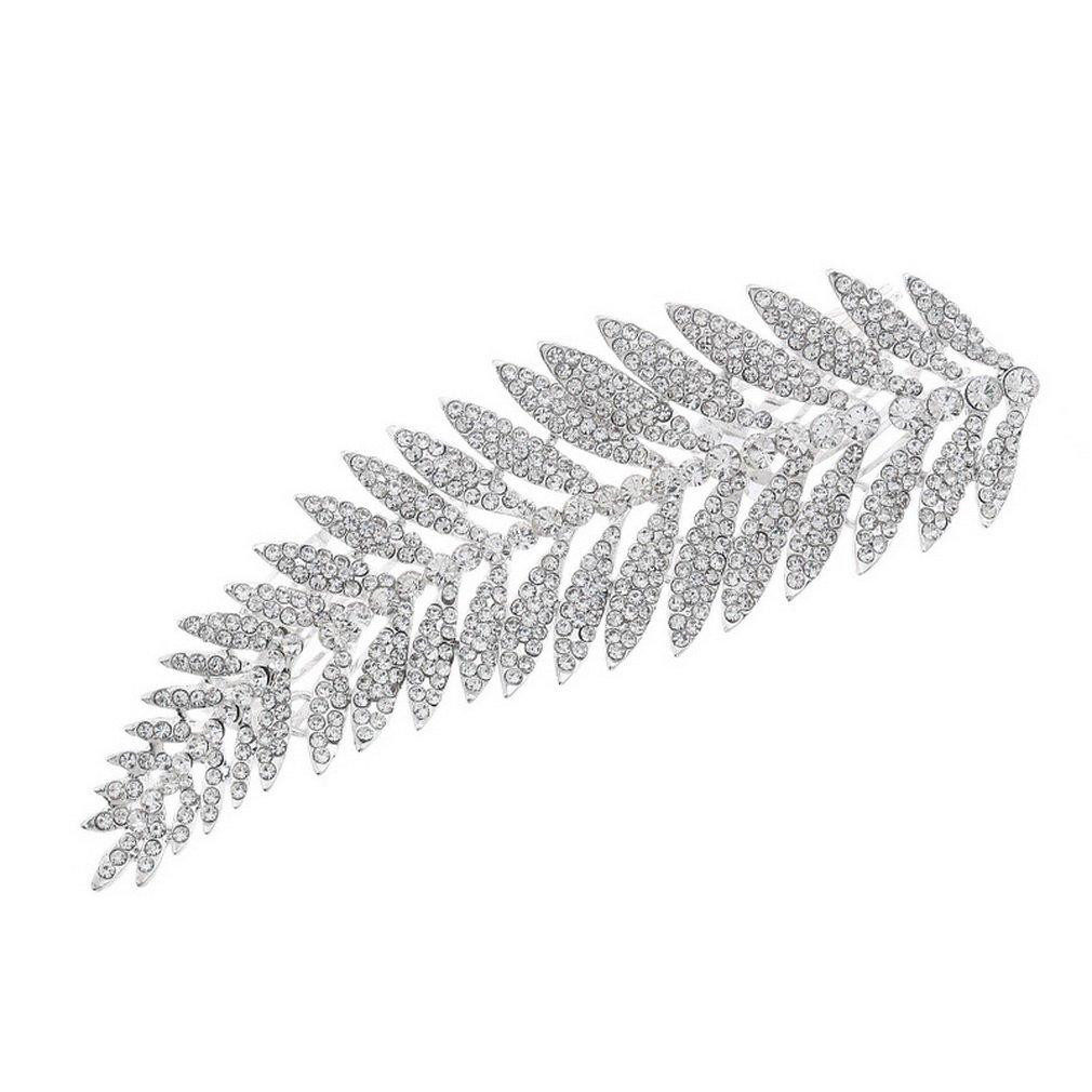 YAZILIND Mariée peigne forme de la feuille mariage coiffe brillant strass cheveux accessoires YAZILIND JEWELRY LIMITE 1711T0066