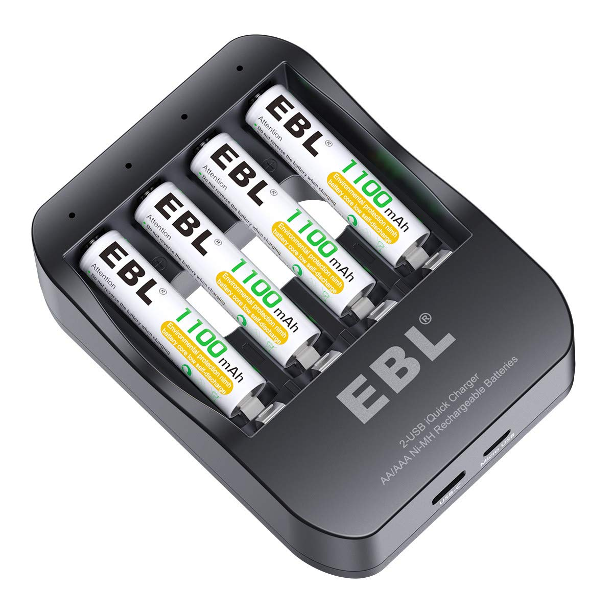 EBL iQuick Battery Charger with 4 Pack AAA Rechargeable Battery Fast Charging for AA AAA Ni-MH Rechargeable Battery CA-64208122