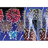 Amscan Sparkling Jewel Tones New Year Party City Scape Plastic Room Rolls Decoration (2 Piece), 24', Multicolor