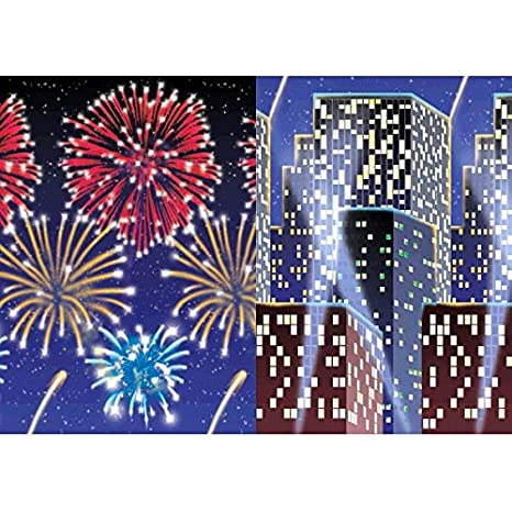 Amazon Com Amscan Sparkling Jewel Tones New Year Party City Scape