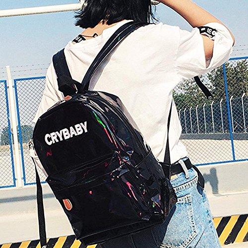 Women Hologram Men Boy Backpack Street Schoolbag Preppy Widewing Shoulder Black Girl AXqwxtw7E
