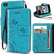 iPhone 4 4S Case,Korecase Premiun Wallet Leather Credit Card Holder Butterfly Flower Pattern Flip Folio Stand Case for Apple iPhone 4 4S With a Wrist Strap - Blue