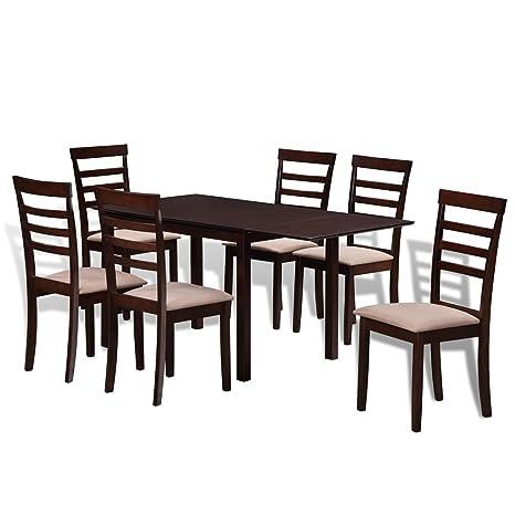 Set Table Extensible Et 6 Chaises Marron Creme En Bois