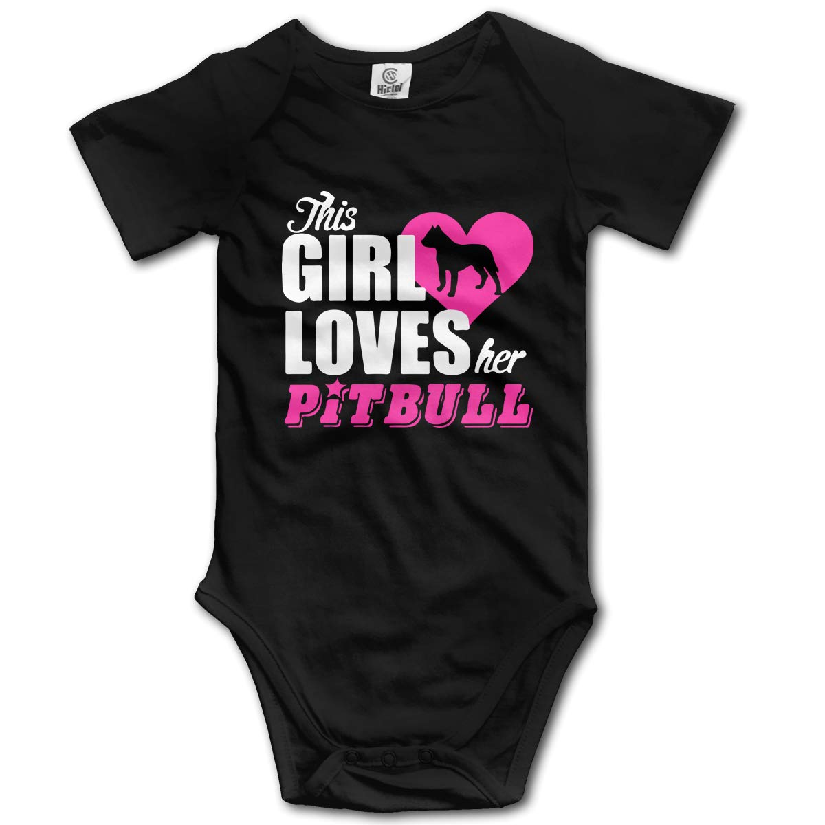 This Girl Loves Her Pitbull Kids Girl Boy 100/% Organic Cotton Romper Pajamas 0-2T