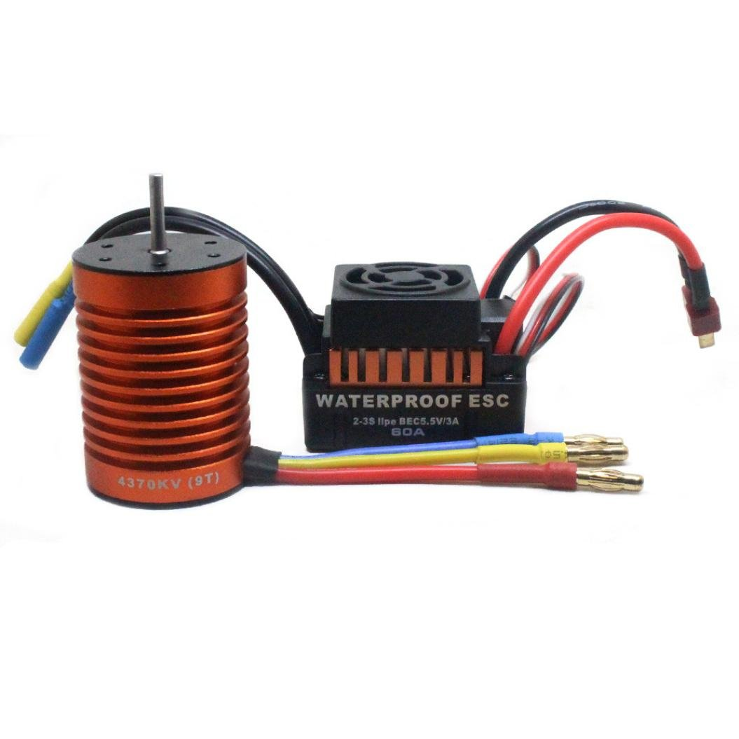 TiTCool Waterproof 9T 4370KV Brushless Motor + 60A ESC Speed Controller Combo ME720 for 1/10 RC Car