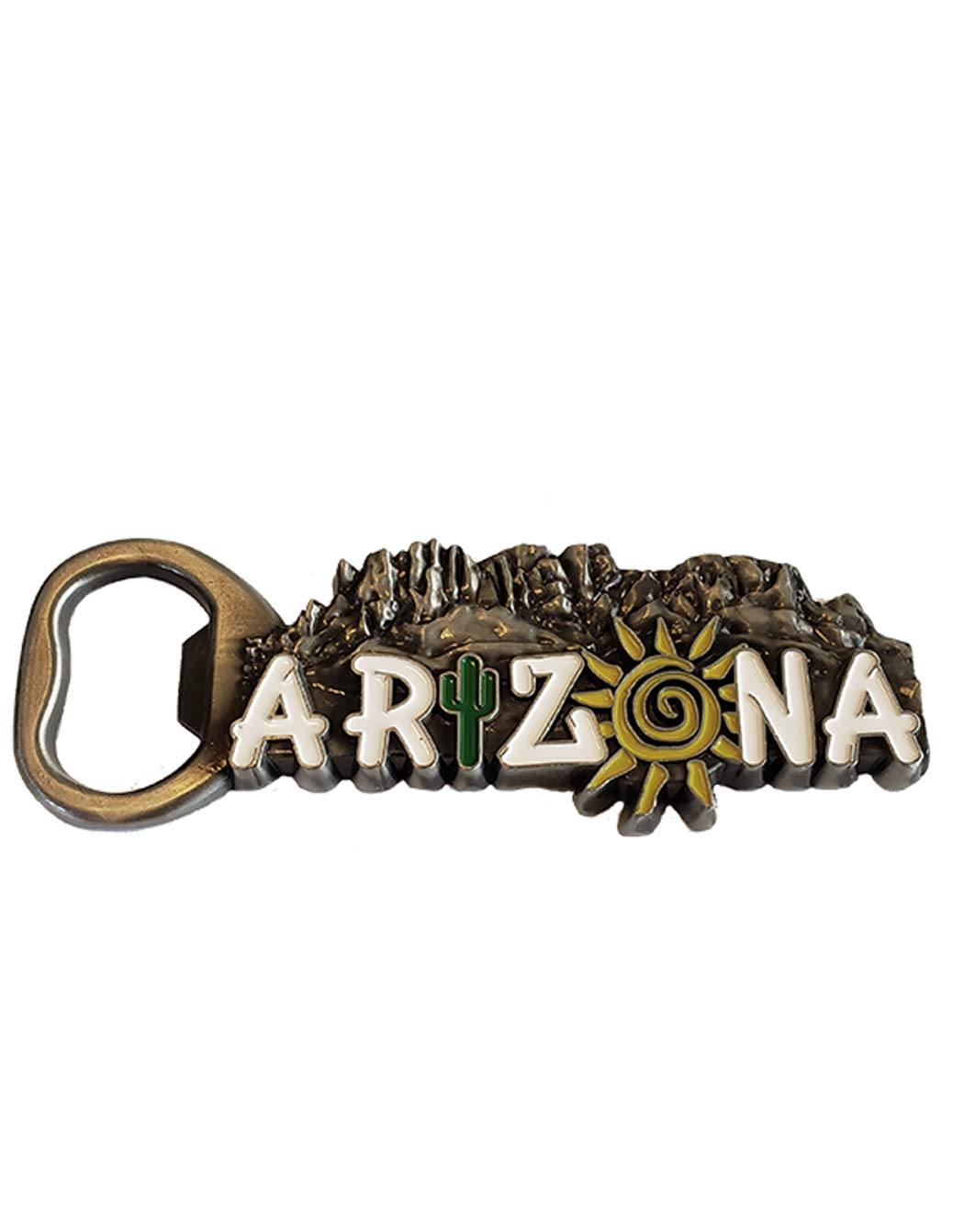 Arizona Bottle Opener Magnet (Silver) Decorative Metal Refrigerator Magnet Southwest Beer Lover Gift Idea - Arizona Souvenir