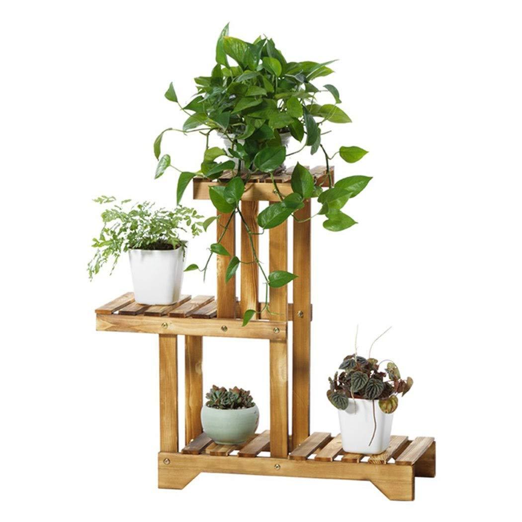 Khkfg Espositore per Piante a mensola in Legno ad Angolo per 4 Ripiani da Giardino in Vaso per Balcone da Giardino 55x25x66cm