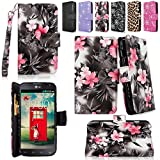 Cellularvilla Wallet Case for LG Optimus L90 Dual D410 Pu Leather Wallet Card Flip Open Pocket Case Cover Pouch (Black Pink Flower)