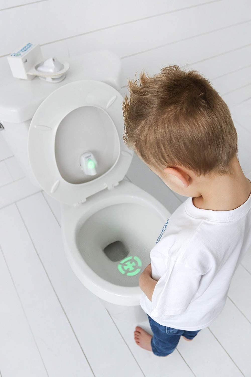Toddler Toilet Target Night Light,Training Learning Easy Fast Fun Motion Sensor Activated Bullseye NIghtlight white