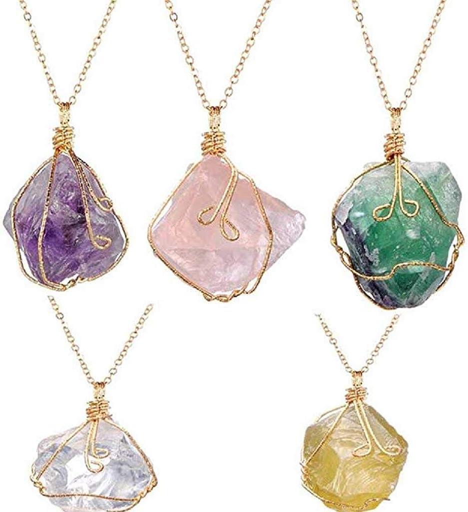 Scpink Vendita liquidazione, Liquidazione Offerte Arcobaleno pietra naturale cristallo Chakra Rock collana gioielli regalo pendente al quarzo Rosa