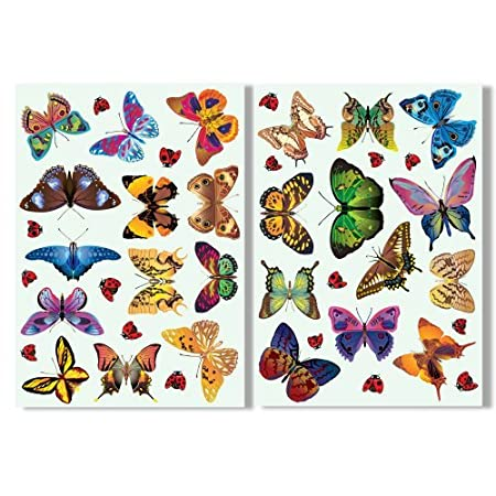 Articlings 25 butterflies 17 ladybird window clings by colourful non adhesive stickers stop
