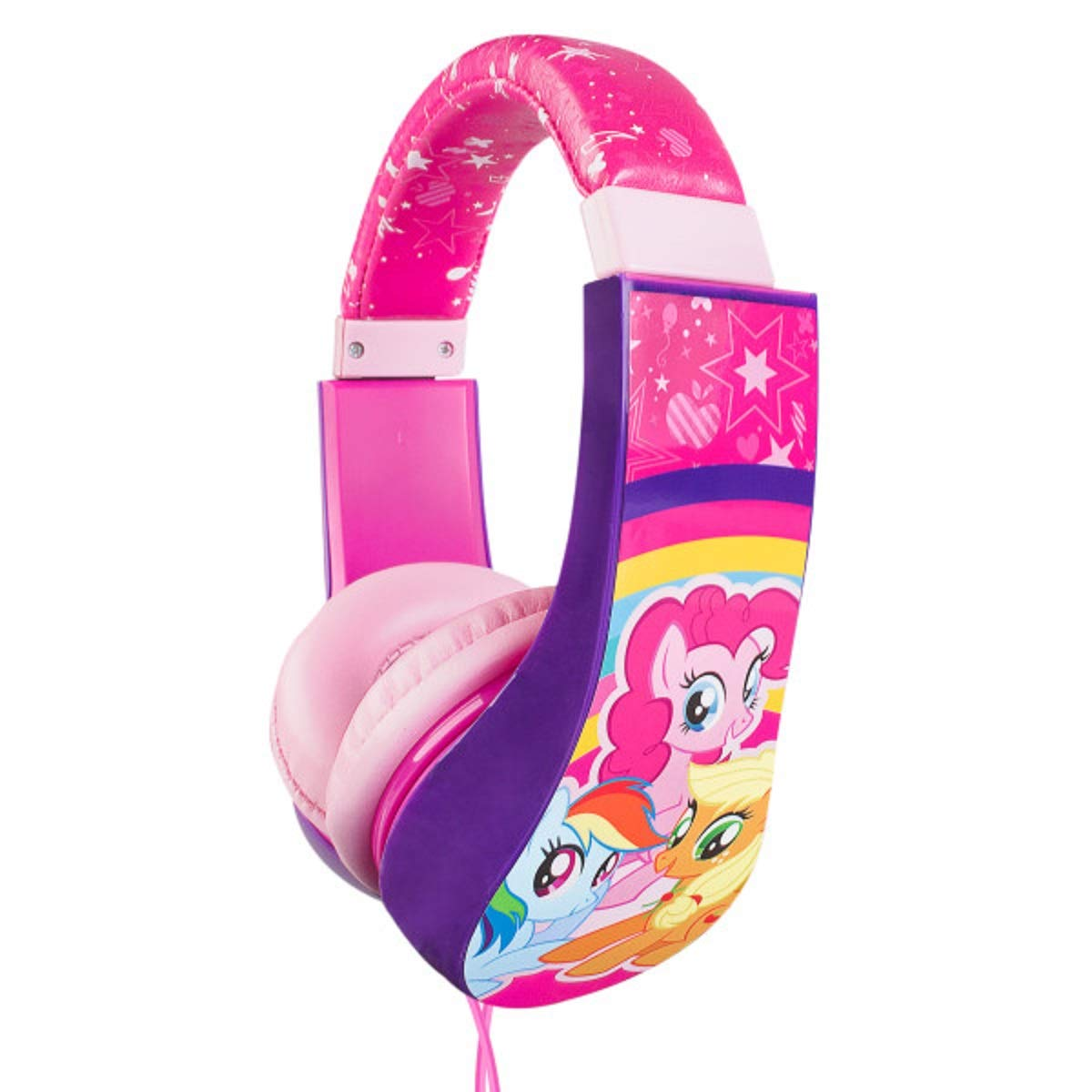 My Little Pony Kid Safe Over the Ear Cushioned Headphone w/Volume Limiter, 3.5MM Stereo Jack Pink Rainbow Horses Equestrian by Sakar