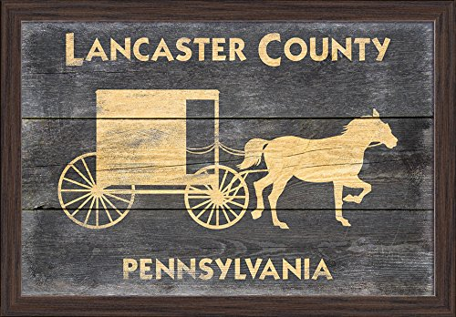 (Lancaster, Pennsylvania - Horse and Buggy - Rustic (24x16 Giclee Art Print, Gallery Framed, Espresso Wood))