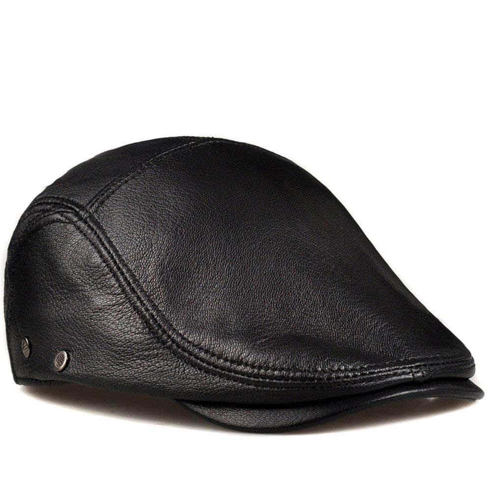 Thundertechs The Girlfriend Boyfriend Male and Female Leather Cap and Hat Beret Male Sun hat Leather Peaked Cap (Color : Black, Size : XXL (59-60cm))