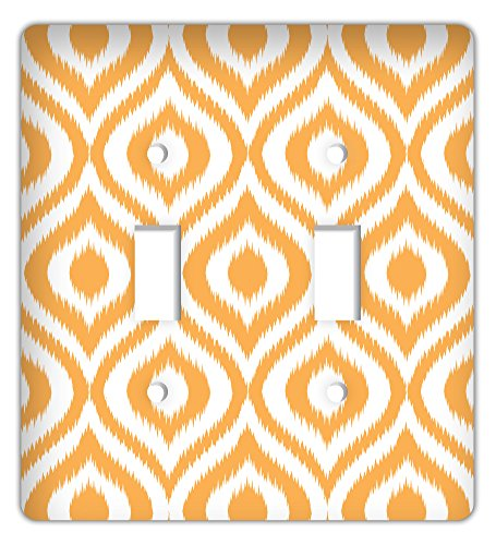 Drama Decor Ikat Ogee Trendy Printed Double Switchplate Cover, Orange ()