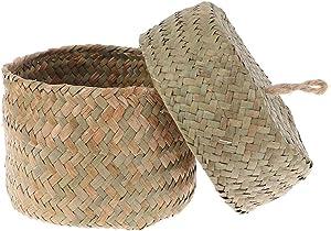 Eaarliyam Handmade Straw Storage Basket Woven Basket Wicker Rattan Planter Pot Flower Storage Container for Garden Wedding Decoration Natural Color