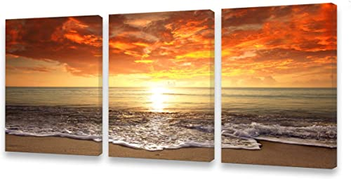 S0168 3 pieces Canvas Prints Wall Art Sunset Ocean Beach Pictures Photo Paintings forLiving Room Bedroom Home Decorations Stretched and Framed Seascape Waves Landscape Giclee Artwork