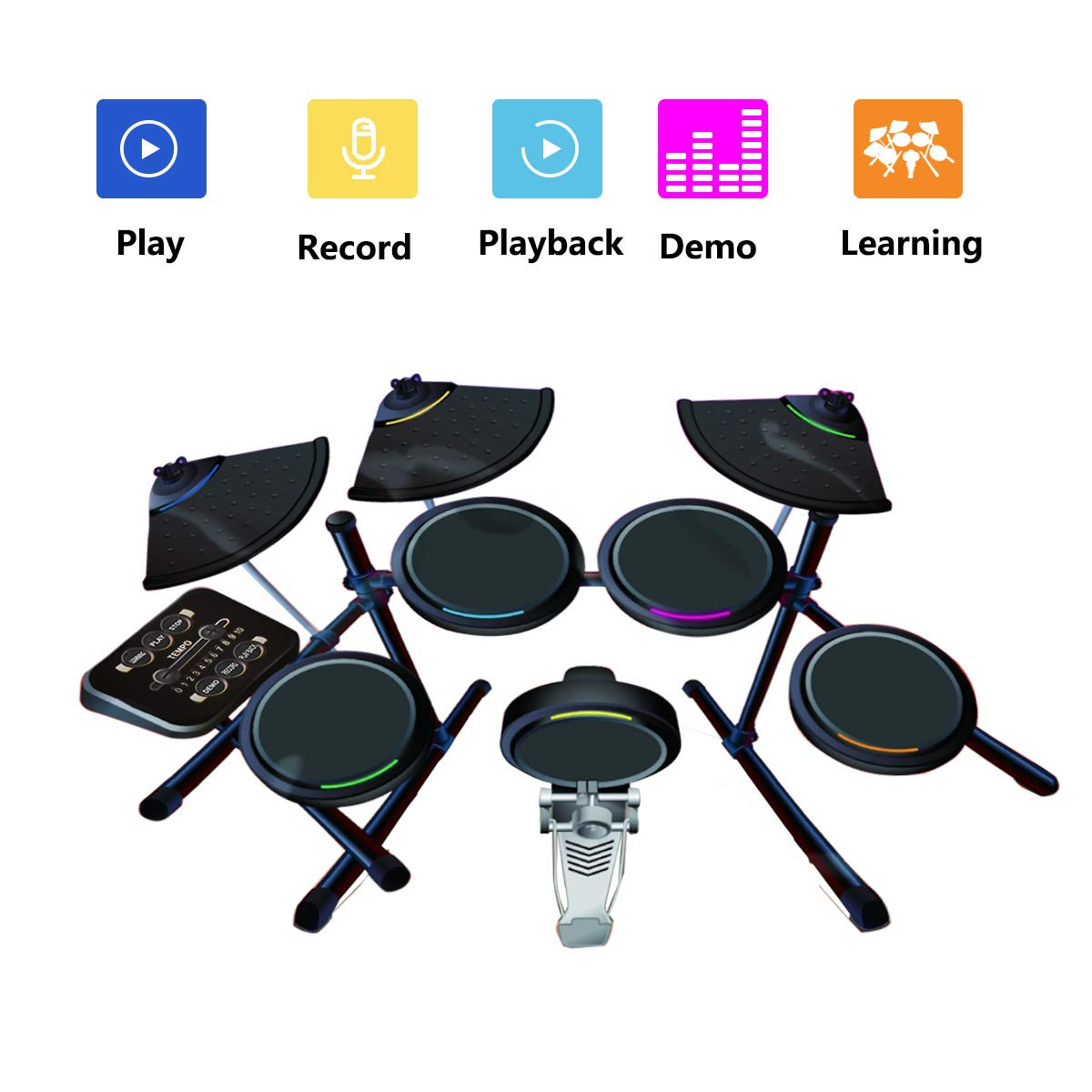 Costzon Electronic Drum Mat, 8 Keys Glowing Music Mat with LED Lights,MP3 Cable, Drumsticks, Support Play - Study-Record - Playback - Demo 5 Modes, Volume Control by Costzon (Image #2)